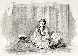Постер Japanese lady engraved portrait. Created by Marin after Trevise, published on Le Tour du Monde, Pari