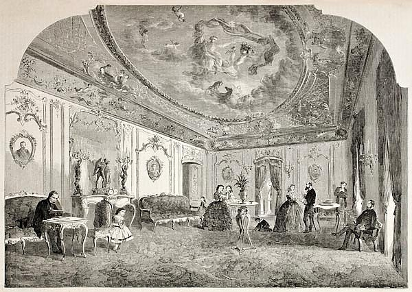 Reception room of the famous French photographer. Original, from drawing of Lancelot, published on L