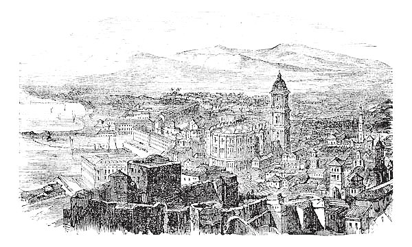 Malaga in Andalusia Spain vintage engraving