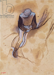 Постер Дега Эдгар (Edgar Degas) Jockey flexed forward standing in the saddle, 1860-90
