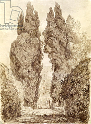 Постер Фрагонар Жан Large Cypresses at the Villa d'Este