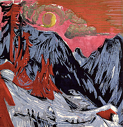 Постер Кирхнер Людвиг Эрнст Mountains in Winter, 1919