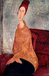 Постер Модильяни Амедео (Amedeo Modigliani) Jeanne Hebuterne in a Yellow Jumper, 1918-19