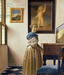 Постер Вермеер Ян (Jan Vermeer) A Young Woman Standing at a Virginal, c.1670-72