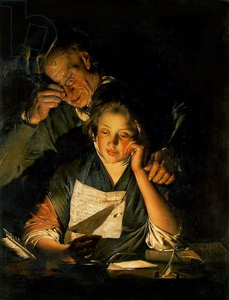 A Girl reading a Letter, with an Old Man reading over her shoulder, c.1767-70