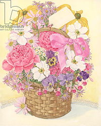 Постер Бентон Линда (совр) Basket of Flowers, 1995