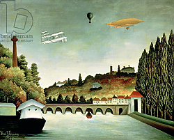 Постер Руссо Анри (Henri Rousseau) View of the Bridge at Sevres and the Hills at Clamart, St. Cloud and Bellevue, 1908
