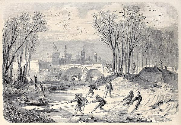 Ice workers in the Mezzo lake, Mantua. Engraved on a design by Rouargue and Crapelet, published on
