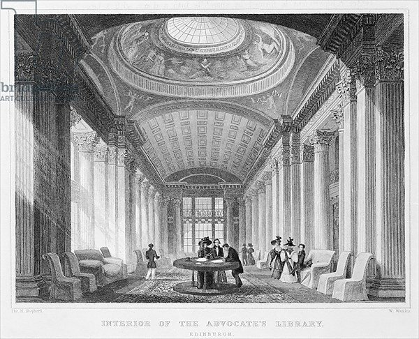 Interior of the Advocate's Library, Edinburgh, engraved by William Watkins, 1831