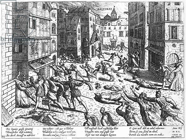 Scenes of the Spanish fury at Antorff, 1576