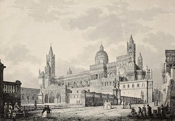 Palermo Cathedral, Italy. The original engraving, created by B. Rosaspina, dated to the first half o