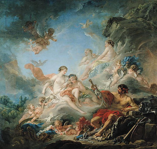The Forge of Vulcan, or Vulcan presenting arms for Aeneas to Venus, tapestry cartoon, 1757