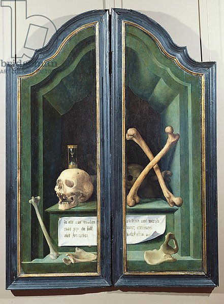Vanitas, reverse of two panels from a triptych