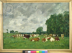 Постер Буден Эжен (Eugene Boudin) Pasture in Fervaques or, Cows in a Pasture, 1874