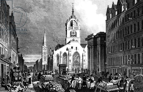 St. Gile's Church, County Hall and the Lawn Market, Edinburgh, engraved by William Tombleson, c.1830