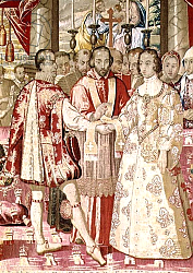 Постер Школа: Фламандская 17 в. The Charles V Tapestry depicting the Marriage of Charles V, c.1630-40