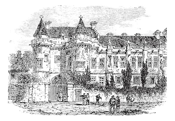 Falkland Palace in Fife, Scotland, United Kingdom, vintage engraving