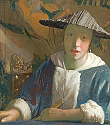 Постер Вермеер Ян (Jan Vermeer) Young Girl with a Flute, c.1665-70