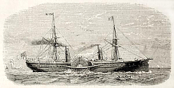 Постер American steamer sailing. Original, from drawing of Lebreton, published on L'Illustration, Journal U