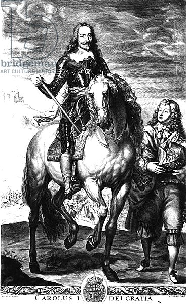 Equestrian portrait of Charles I, engraved by Pierre Lombart