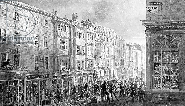 The Strand from the corner of Villiers Street, 1824