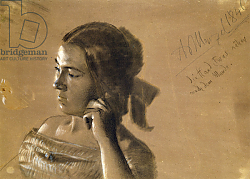 Постер Мензель Адольф Study for a portrait of Mrs Von Maercker, 1846