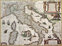 Постер Italy old map. Created by Henricus Hondius, published in Amsterdam, 1631