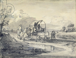 Постер Гейнсборо Томас Open Landscape with Herdsman and Covered Cart, c.1780-85