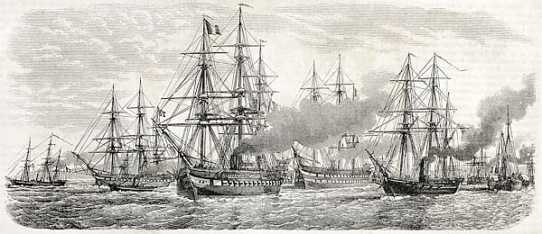 French fleet in China leaving Tche-fou towards Pe-thang. Created by Lebreton, published on L'Illustr