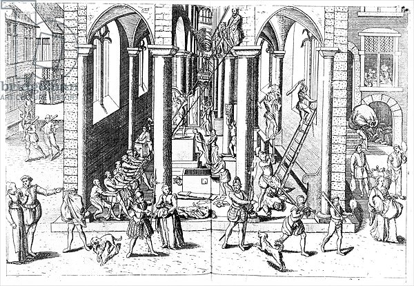 Calvinists destroying statues in the Catholic Churches, 1566