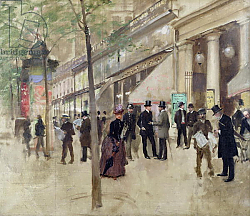 Постер Бакст Леон The Boulevard Montmartre and the Theatre des Varietes, c.1886