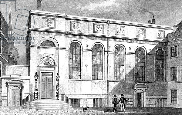 Stationers' Hall, Stationers' Hall Court, engraved by W. Watkins, 1830