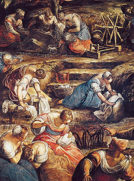 The Miraculous Fall of Manna, detail of women working