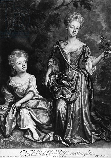 The Lord Churchill's two Daughters, mezzotint by John Smith, c.1690