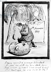 Постер Розетти Данте Rossetti lamenting the death of his Wombat, 1869