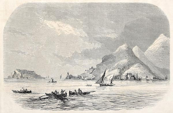 Gulf of La Spezia mouth, Italy. Published on L'Illustration Journal Universel, Paris, 1857