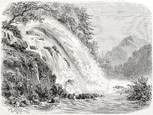 Calcaggia waterfalls, Switzerland. Created by Freeman, published on L'Illustration Journal Universel