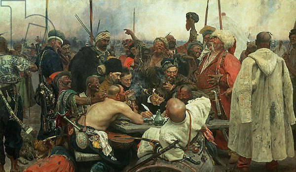 The Zaporozhye Cossacks writing a letter to the Turkish Sultan, 1890-91