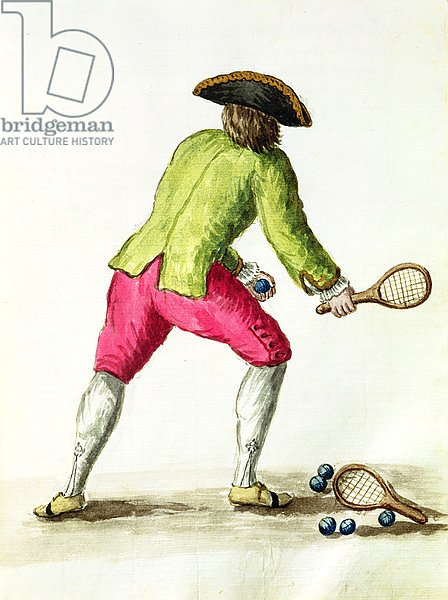 A Man Playing with a Racquet and Balls