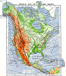 Постер Physical Map of North America in the late 19th century 1883.