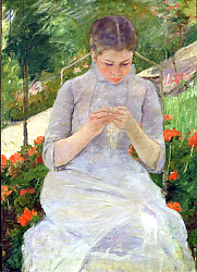 Постер Кассат Мэри (Cassatt Mary) Young Woman Sewing in the garden, c.1880-82