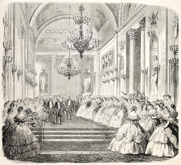King Vittorio Emanuele  in a historical building in Florence. From drawing of Janet-Lange, published