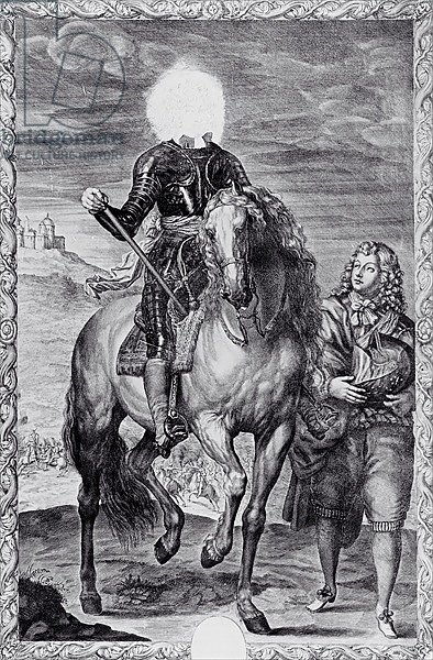 Defaced equestrian portrait of Charles I, engraved by Pierre Lombart