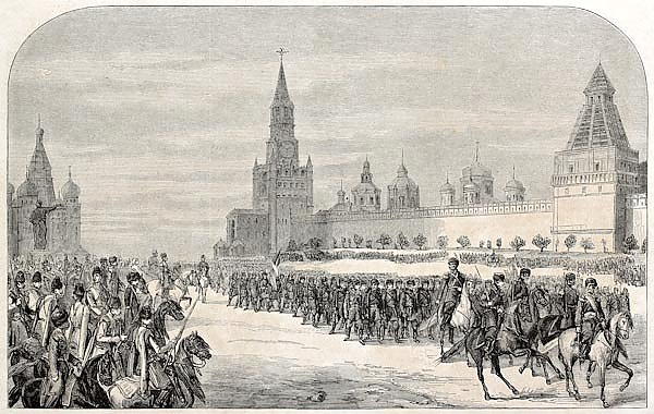Russian Imperial's family Chasseurs parade in front of Moscow Kremlin. Created by Sorieul, published