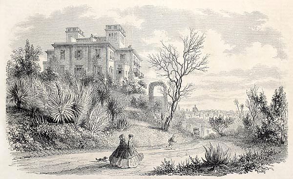 Villa Massigny in Nice, France, residence of queen of Denmark in 1860. Original, from drawing of Fre