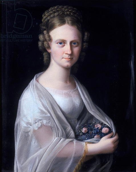 Portrait of a Woman with pink roses in her arms
