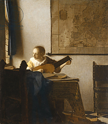 Постер Вермеер Ян (Jan Vermeer) Woman with a Lute, c.1662-1663