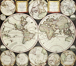 Постер Old double emisphere map of the world surrounded by smallest emispheric projections. Created by Care
