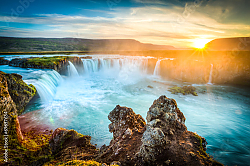Постер Исландия. Godafoss at sunset