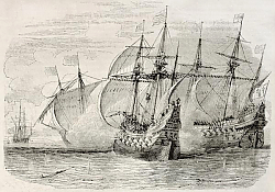 Постер Sea battle between French and British ships during the siege of La Rochelle. Created by Rouargue, pu
